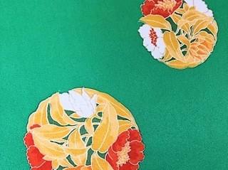 グリーンに花丸紋の小紋レンタル
