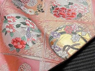 四季花の丸紋市松取り袋帯レンタル