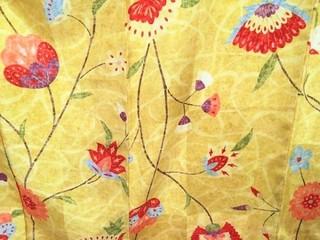 黄色にモードな花唐草小紋レンタル