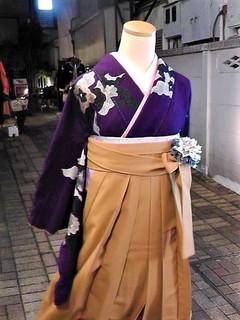 パンジー着物と黄色の袴レンタル