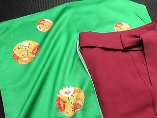 エメラルド緑に花丸紋袴セットレンタル