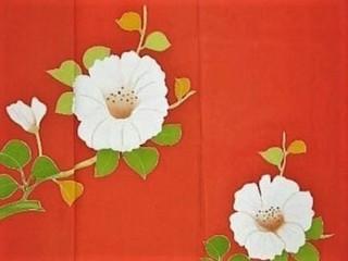 朱赤に白い花本加工友禅付け下げレンタル